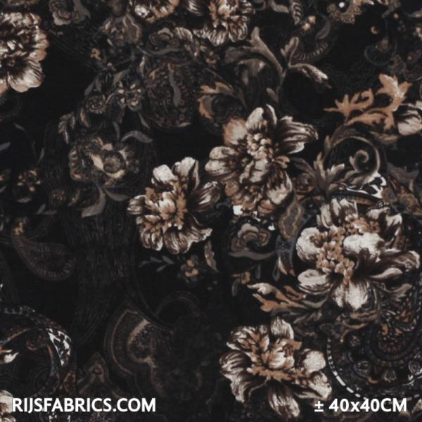 Jersey Fabric - Floral Design Brown Printed Jersey Fabric Punta Quality
