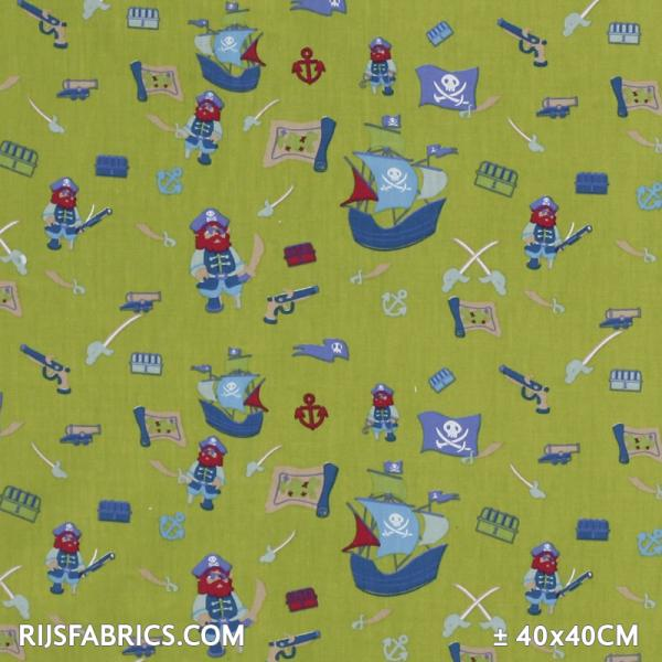 Child Fabric - Pirates Lime Child Fabric Cotton