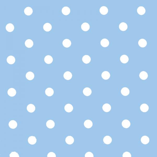 Polka Dot Fabric - Light Blue / White 18mm