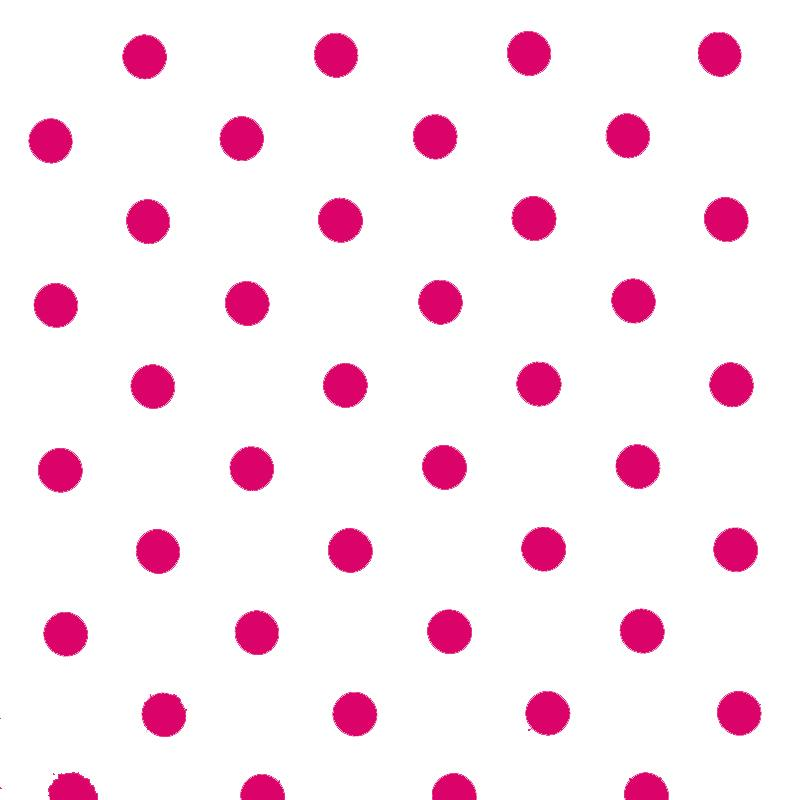 Polka Dot Fabric White Fuchsia 18mm