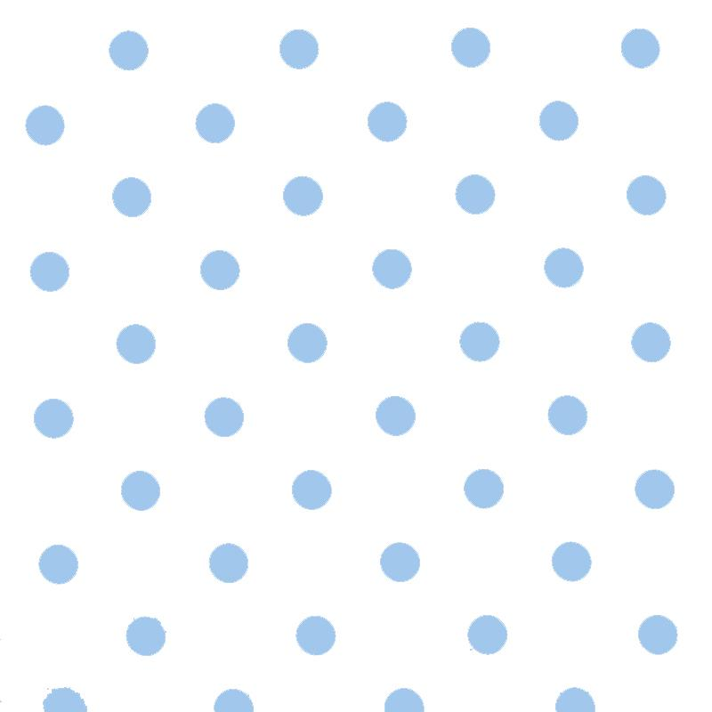 Polka Dot Fabric - White / Light Blue 18mm