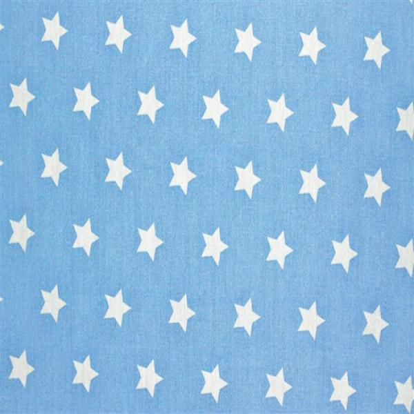 Star Fabric Baby Blue 20 mm 20mm Stars On Cottton Fabric